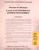 Brown & Sharpe No. 2 & 3, Ultramatic Screw Machine, Operations Maint Manual 1974