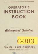 Crystal Lake, Cylindrical Grinder, Operators Instructions Manual