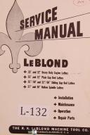 "Leblond 25"", 30"", 32"", 50"", 60"", Lathe Operation & Parts Manual Year (1947)"