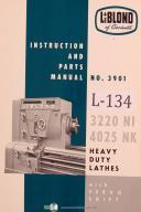 Leblond 3220 NI, 4025 NK, Lathe Operators Instruction & Parts Manual Year (1962)