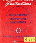 Micromatic Hone 723, 117, Vertical Hone Machine, Operations Manual 1955